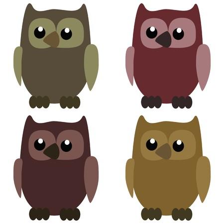 rapacity: four nice owls on white