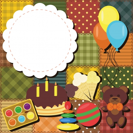 patchwork background with toys Vector