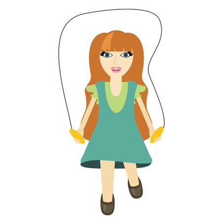gril: nice gril with skipping-rope Illustration