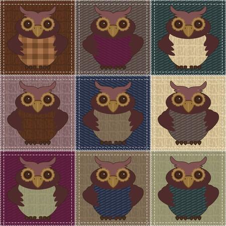 patchwork background: patchwork background with owls Illustration