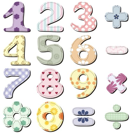number 1: scrapbook numbers and signs on white background Illustration