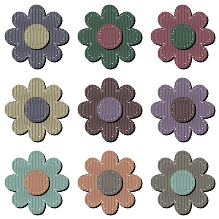 rags: scrapbook flowers on white background Illustration