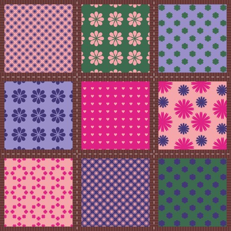 Patchwork background with different patterns.