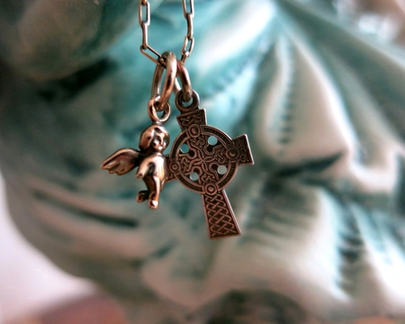 silver plated: Gold plated angel and sterling silver celtic cross