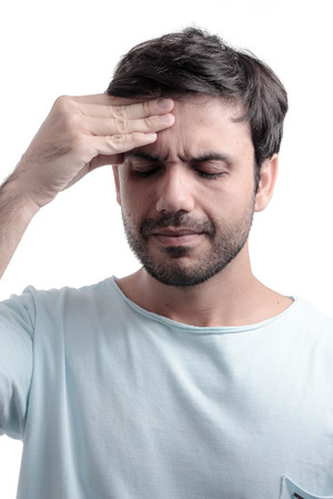 sinus: Sinus pain, sinus pressure, sinusitis. Sad man holding his head because sinus pain