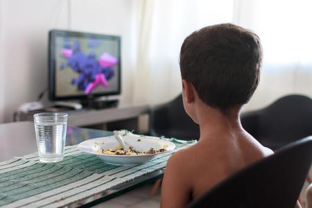 자녀가 점심을 먹고 TV 시청을 산만하게했습니다.