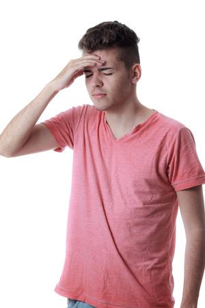 sinusitis: Sinus pain, sinus pressure, sinusitis. Sad man holding his head because sinus pain