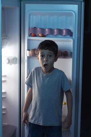 sneak: Child surprised at night to sneak in a refrigerator