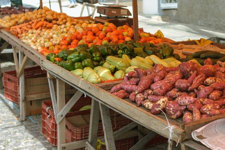 Vegetables stand in open market in Brazil