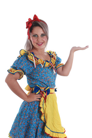 festa: Brazilian woman wearing typical clothes for the Festa Junina