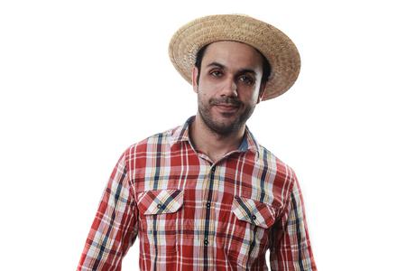 festa: Portrait of brazilian man wearing typical clothes for the Festa Junina
