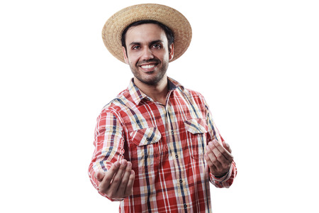 페스타 Junina에 대한 일반적인 옷을 입고 브라질 남자의 초상화