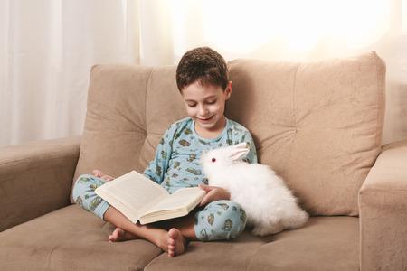 집에서 그의 토끼와 함께 책을 읽고, 소파에 앉아 어린 소년. 스톡 콘텐츠
