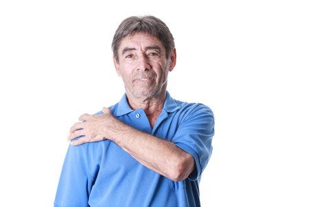 old man on a physical pressure: Portrait of elderly man suffering from shoulder pain
