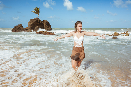 allowing: Woman in Tambaba Beach in Brazil, known for allowing the practice of nudism  naturism