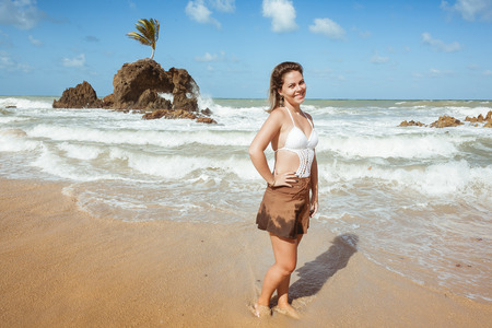 Woman in Tambaba Beach in Brazil, known for allowing the practice of nudism  naturism