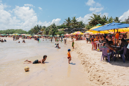 Pitimbu, Paraiba, Brazil - January 15, 2017 - Praia Bela, Tourist attraction in Brazil famous for the existence of river where bathers have fun