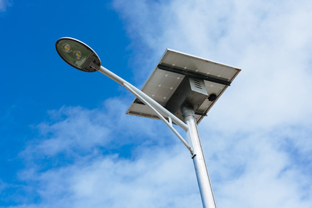 Public lighting pole powered by solar energy