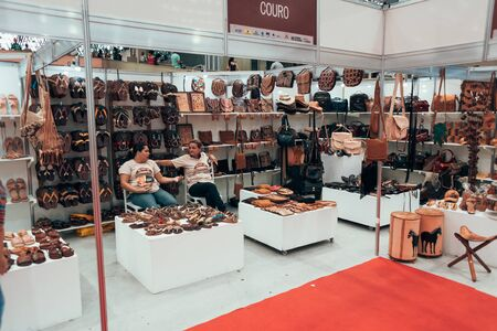 Joao Pessoa, Paraiba, Brazil - January 24, 2018 - The Salao do Artesanato - Portuguese for craft expo - is a handicraft fair in the Brazilian state of Paraiba that brings together exhibitors who market and exhibit all kinds of products related to handicra