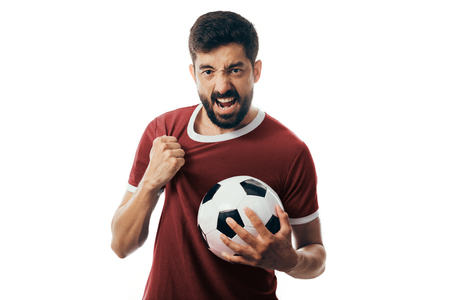 Fan or sport player on red uniform celebrating on white background