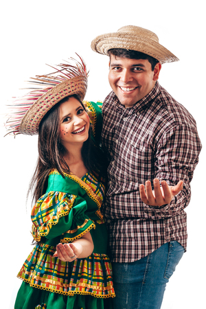 Young Brazilian couple wearing typical clothes for Festa Junina Stock fotó - 101728778
