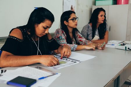 Picui, Paraiba, Brazil - October 7, 2018. Elections in Brazil. Election officials work on the first round of the 2018 general election.