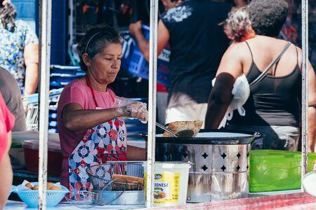 Sao Jose do Egito, Pernambuco, Brazil - September 29, 2018 - Saleswoman works in the local farmers market in Brazil Sajtókép
