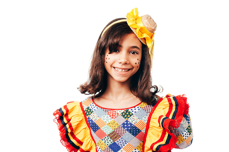 Brazilian girl wearing typical clothes for the Festa Junina - June festival Archivio Fotografico