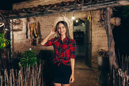 Brazilian woman wearing typical clothes for the Festa Junina - June festival Stock Photo