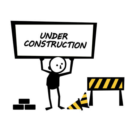 under construction on warning sign. Иллюстрация