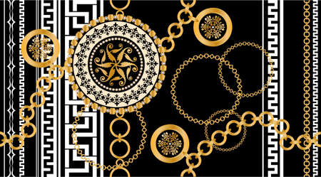 pattern decorated with precious stones, gold chains and pearls.