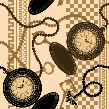 clock and chain pattern Ilustración de vector