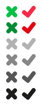 tick and cross icon on white background