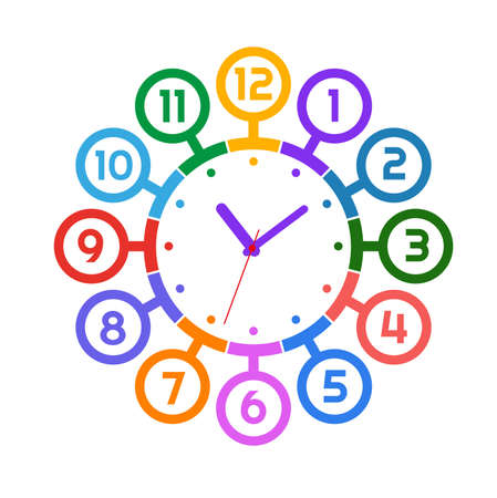Cheerful wall clock with cute numbers. Vettoriali