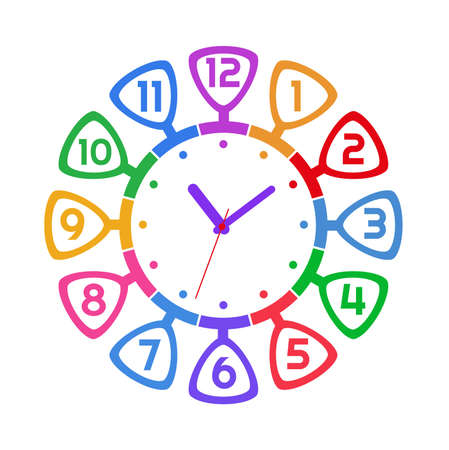 Cheerful wall clock with cute numbers.
