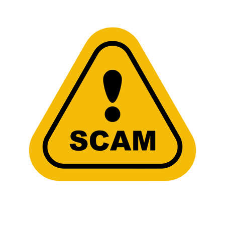 scam sign on white background