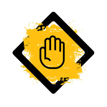 hand stop sign on white background. Vector icon.