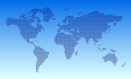 world map on black background