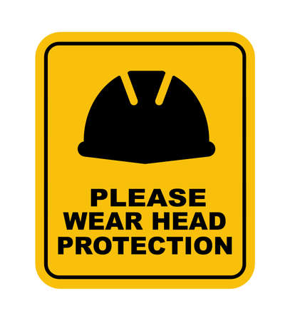 wear head protection sign vector