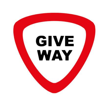 give way sign on white background Çizim