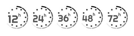 hours clock arrow on white background