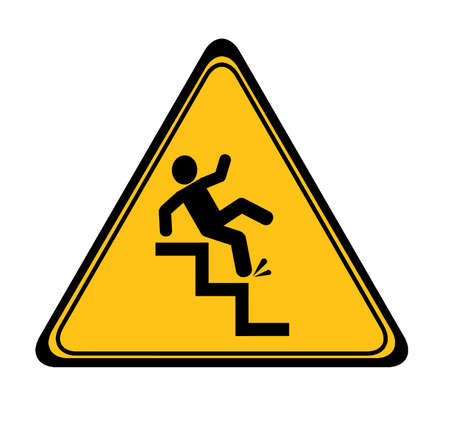 slippery stairs sign on white background Çizim
