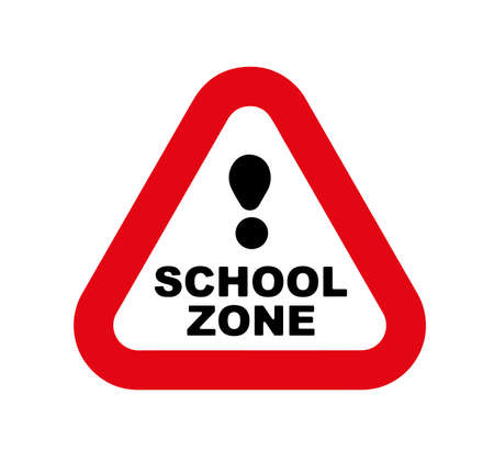 school zone sign on white background