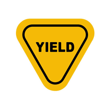 Yield sign on white background 向量圖像