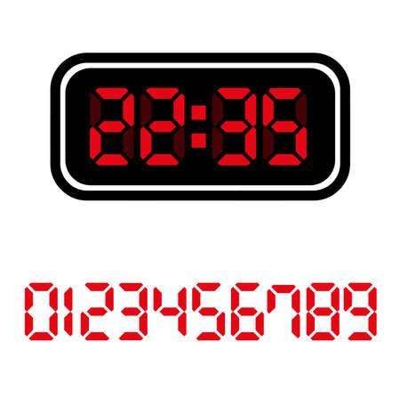 digital clock on white background Çizim