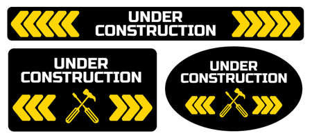 yellow warning sign. under condtruction background. Ilustrace