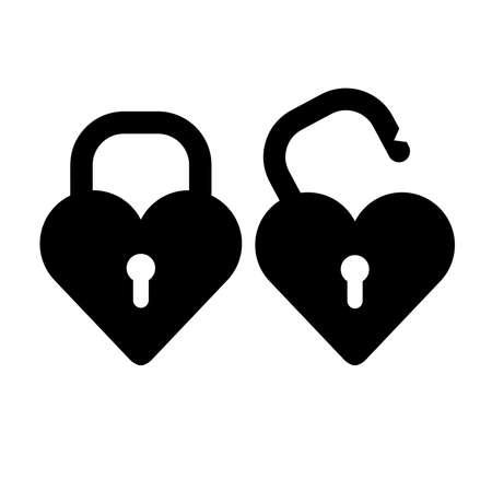 hearth lock icon on white background
