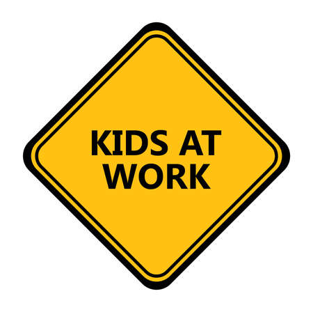 Yellow kids at work sign. vector icon