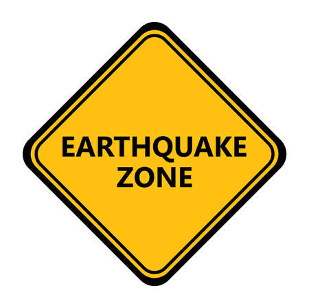 Yellow earthquake zone sign. Vector icon.