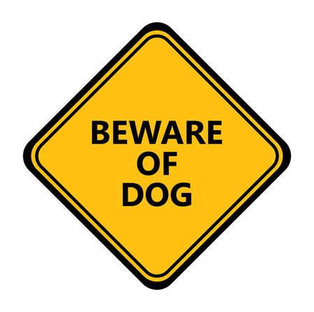 Yellow beware of dog vector sign